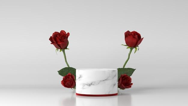 Marmurowe Podium Do Lokowania Produktu Ozdobione Różą Premium Zdjęcia