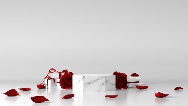 Marmurowe Podium Do Lokowania Produktu Ozdobione Różami I Pudełkami Na Prezenty Premium Zdjęcia