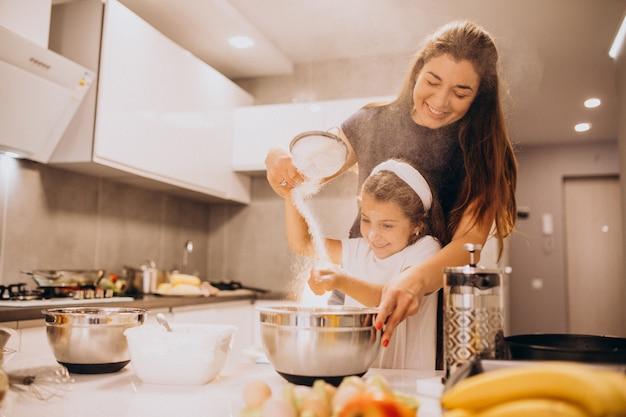 Matka Z Córką Do Pieczenia W Kuchni Razem Darmowe Zdjęcia