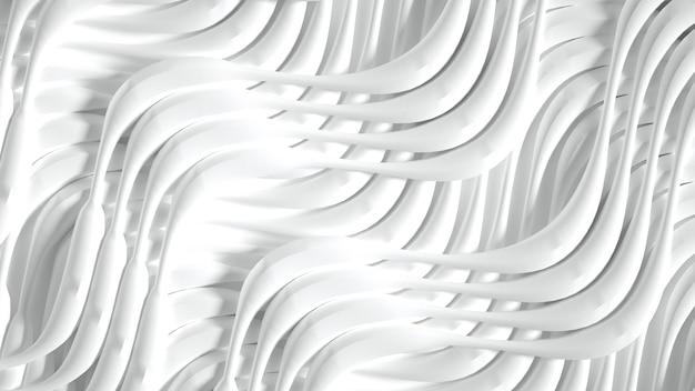 Matowe Tło Z Trójwymiarowym Nadrukiem, Falami I Paskami. Ilustracja, Renderowanie 3d. Premium Zdjęcia