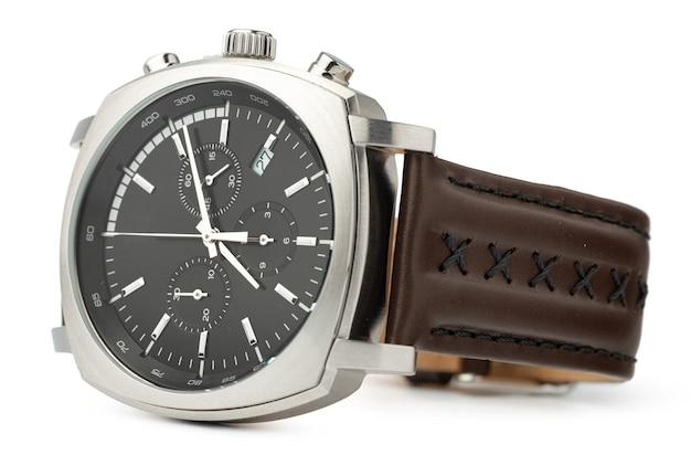 Mechaniczny Zegarek Na Białym Tle, Z Bliska Premium Zdjęcia