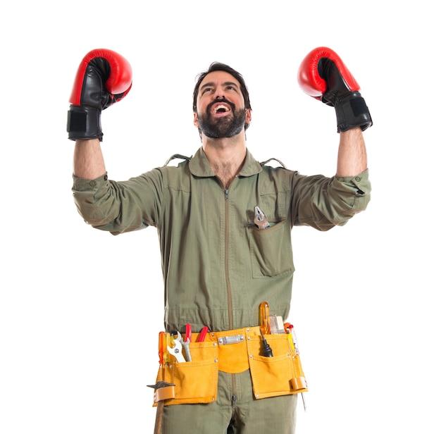 Mechanik Z Rękawiczkami Bokserskimi Darmowe Zdjęcia