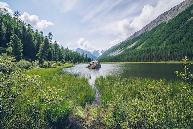 Medytacyjny Widok Na Piękne Jezioro Z Kamieniem W Dolinie W Zaśnieżonych Górach. Malowniczy Relaksujący Zielony Krajobraz Premium Zdjęcia