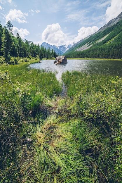 Medytacyjny Widok Na Piękne Jezioro Z Kamieniem W Dolinie W Zaśnieżonych Górach Premium Zdjęcia