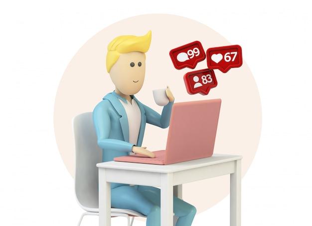 Męska Kreskówka Za Pomocą Komputera Z Powiadomieniami W Mediach Społecznościowych Premium Zdjęcia
