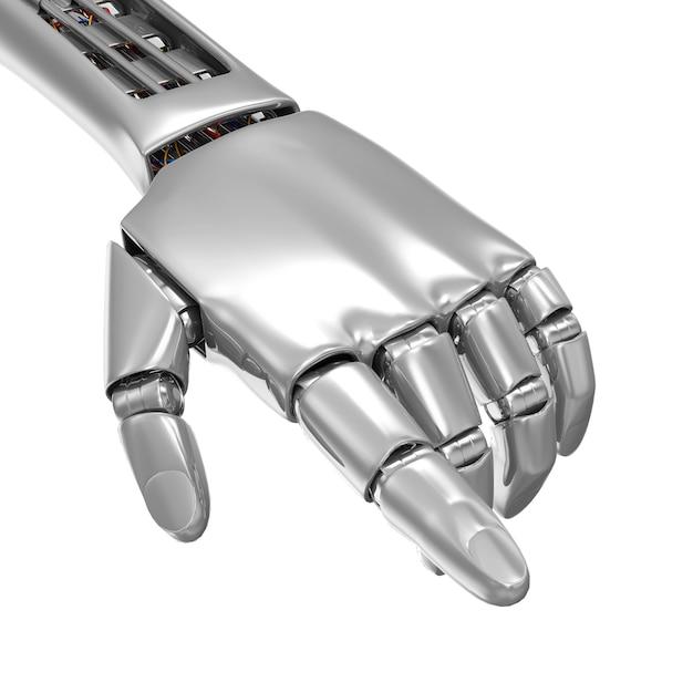 Metalowa Ręka Robota, Wskazując Na Coś Na Białym Tle Premium Zdjęcia