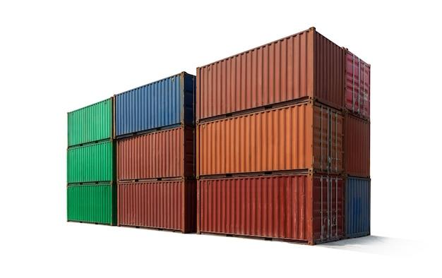 Metalowy Pojemnik Układania ładunku Do Wysyłki Na Białym Tle, Import Eksport Logistyki Koncepcja Biznesowa. Premium Zdjęcia