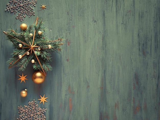 Metalowy Pozłacany Kształt Gwiazdy Z Naturalnymi Gałązkami Jodłowymi I Złotymi Bombkami, Drobiazgami I Błyszczącymi Błyszczącymi Płatkami śniegu. Premium Zdjęcia
