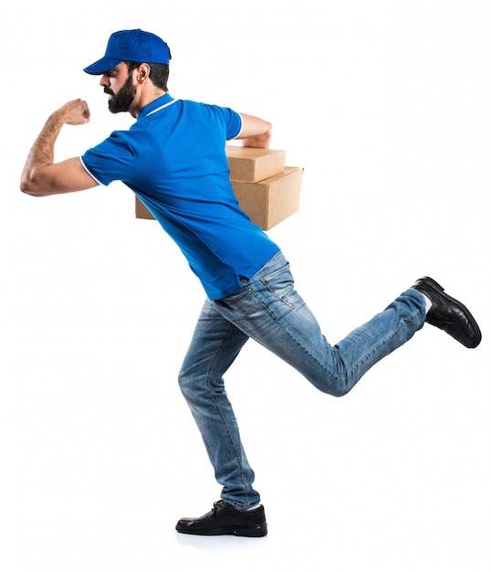 Mężczyzna dostawy działa szybko Darmowe Zdjęcia