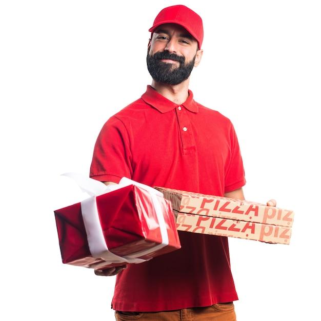 Mężczyzna Dostawy Pizzy Gospodarstwa Prezent Darmowe Zdjęcia