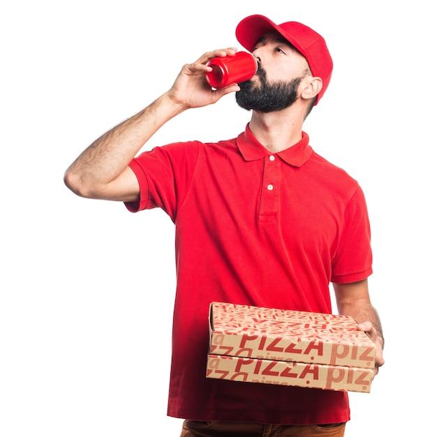 Mężczyzna Dostawy Pizzy Pitnej Sody Darmowe Zdjęcia