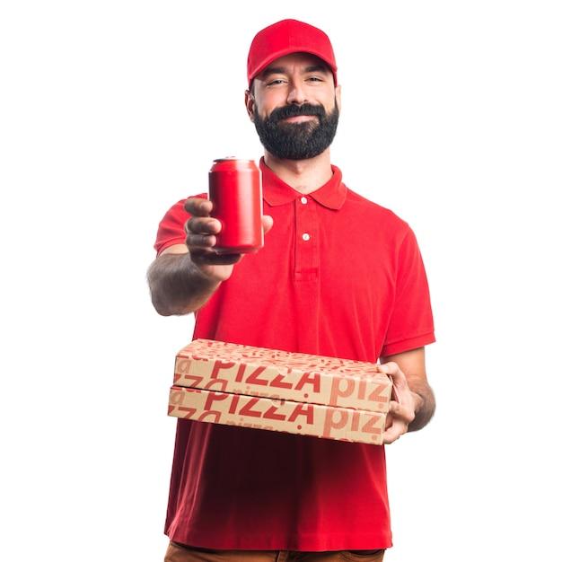 Mężczyzna Dostawy Pizzy Z Sodą Darmowe Zdjęcia