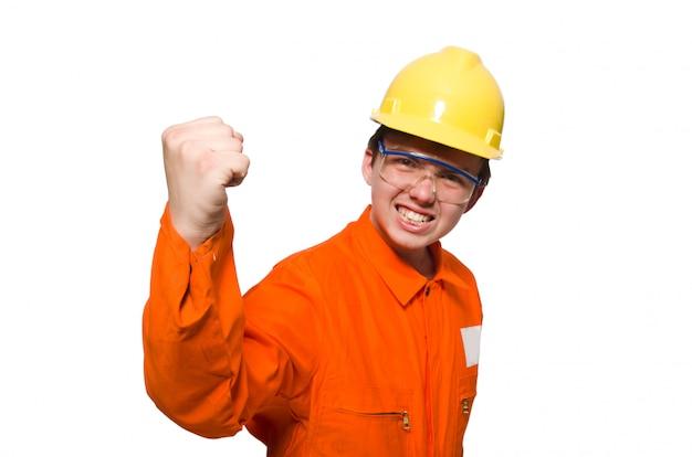 Mężczyzna W Pomarańczowych Kombinezonach Odizolowywających Na Bielu Premium Zdjęcia