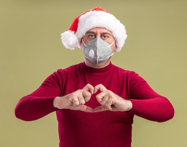 Mężczyzna W średnim Wieku Ubrany W świąteczny Kapelusz Santa Na Sobie Maskę Ochronną Na Twarz Patrząc Na Kamery Z Poważną Twarzą, Czyniąc Gest Serca Palcami Stojącymi Na Zielonym Tle Darmowe Zdjęcia