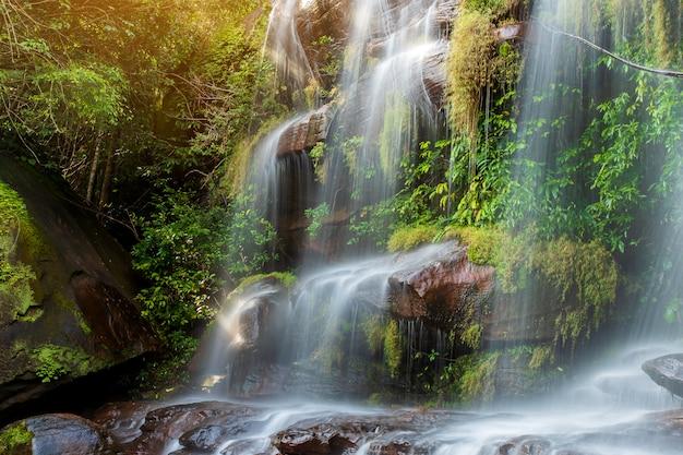 Miękka Woda Strumienia W Parku Przyrody Wiman Thip Waterfall, Piękny Wodospad W Lasach Tropikalnych Premium Zdjęcia