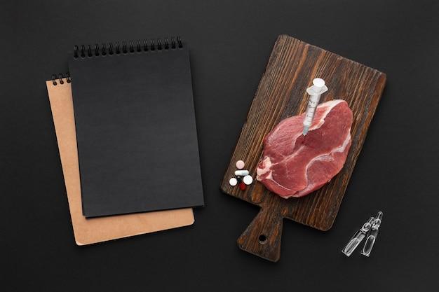 Mięso Modyfikowane Gmo Na Płasko Darmowe Zdjęcia
