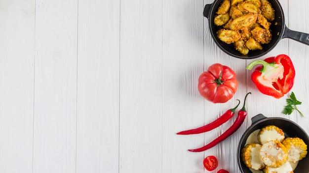 Mieszkanie świeckich skład meksykańskie jedzenie z copyspace Darmowe Zdjęcia