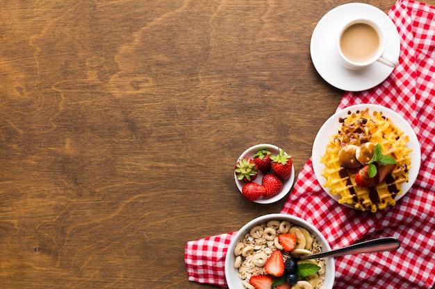 Mieszkanie świeckich Skład śniadanie Z Copyspace Darmowe Zdjęcia