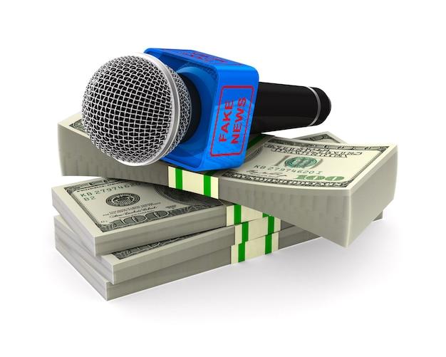 Mikrofon I Pieniądze Na Białej Przestrzeni Premium Zdjęcia