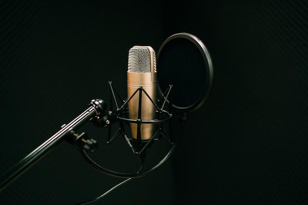 Mikrofon Studyjny I Tarcza Pop Na Mikrofonie W Pustym Studiu Nagrań Z Miejscem Na Kopię Premium Zdjęcia