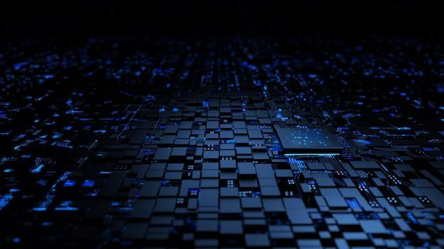 Mikroprocesorowa Jednostka Centralna Procesora W Obwodzie Oświetlenia Premium Zdjęcia