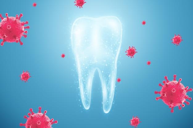 Mikroskopijne Bakterie I Wirusy Wokół Zęba W Wirtualnej Jamie Ustnej Premium Zdjęcia