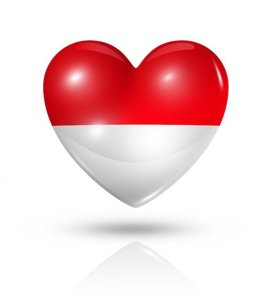 Miłość ikona flagi serca indonezji Premium Zdjęcia