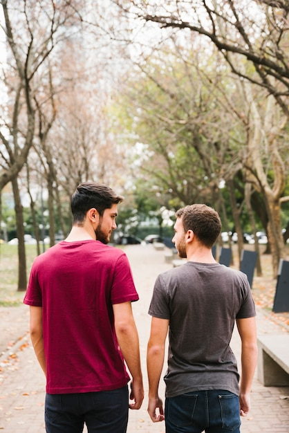 Miłosna para gejów stojących na torze w parku Darmowe Zdjęcia