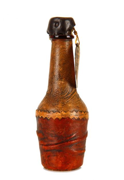 Mini Butelka Pokryta Skórą Premium Zdjęcia