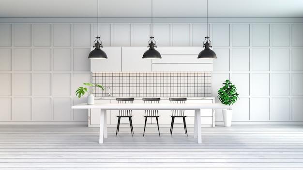 Minimalistyczna Biała Kuchnia Biały Stół Z Czarnym Krzesłem