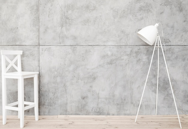 Minimalistyczna biała lampa podłogowa i taboret z betonowymi panelami Darmowe Zdjęcia