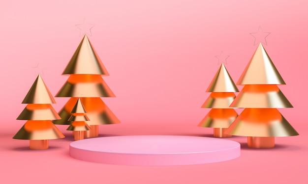 Minimalistyczna geometryczna scena motywów świątecznych Premium Zdjęcia