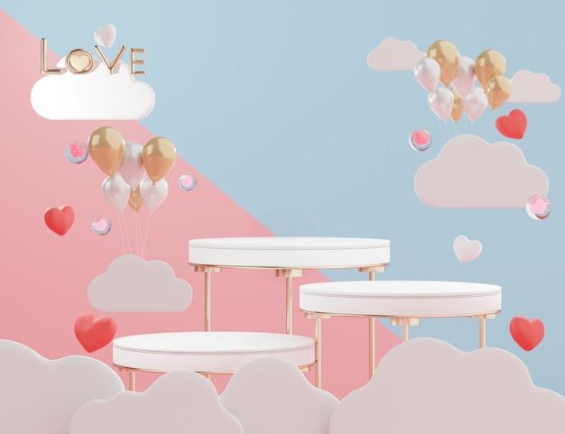 Minimalistyczne 3d Podium Wyświetlaczy Z Pięknym Tłem W Kształcie Serca Na Walentynki. Premium Zdjęcia