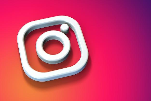Minimalistyczne Logo 3d Instagram Z Pustą Przestrzenią Premium Zdjęcia