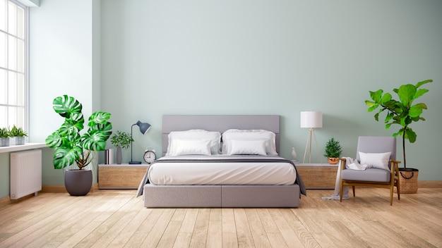 Minimalistyczne Wnętrze Sypialni Premium Zdjęcia