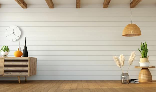 Minimalistyczny Projekt Salonu Z Kredensem Po Jednej Stronie I Trawą Pampasową Po Drugiej I Pustą ścianą Pośrodku, Renderowanie 3d Premium Zdjęcia