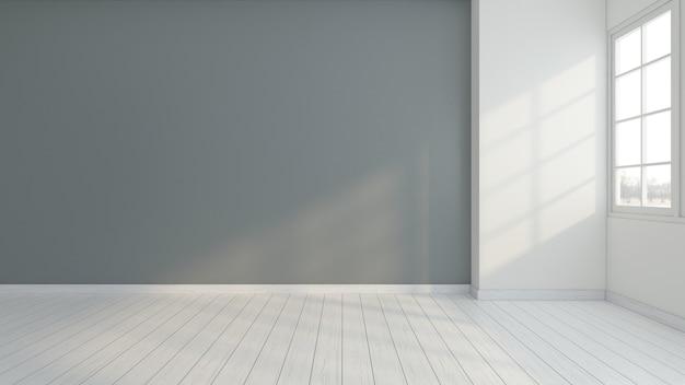 Minimalistyczny Pusty Pokój Z Szarą ścianą. Renderowanie 3d Premium Zdjęcia