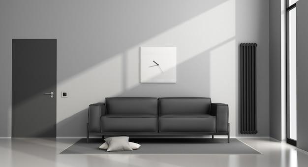 Minimalistyczny Salon Z Czarną Sofą I Zamkniętymi Drzwiami. Renderowanie 3d Premium Zdjęcia