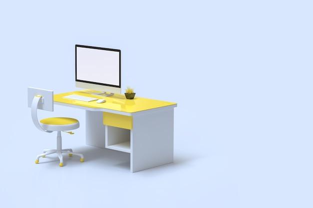 Minimalna Koncepcja Pomysłu, Makieta Komputerowa Na Biurku żółty Kolor Premium Zdjęcia
