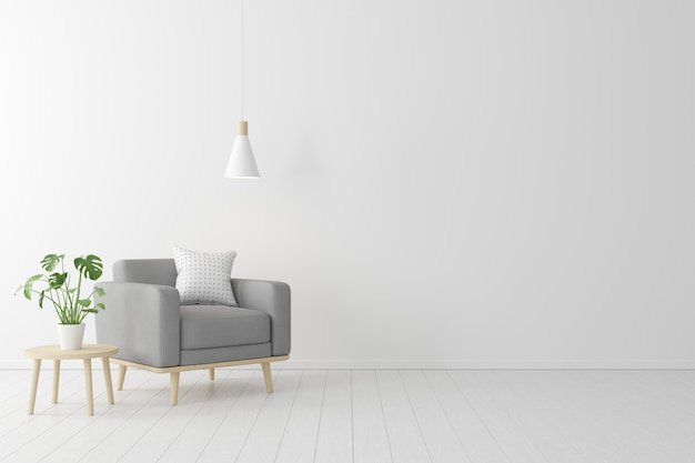 Minimalna koncepcja. wnętrze życia szary fotel tkanina, drewniany stół na drewnianej podłodze i biała ściana. Premium Zdjęcia