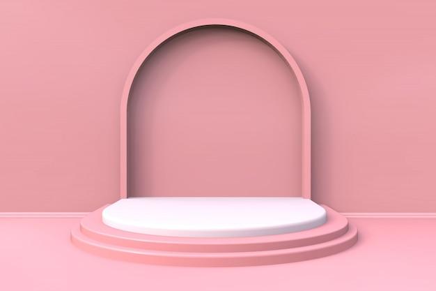 Minimalna Różowa Produktu Pokazu Scena Z Schodowym Tłem - 3d Odpłacający Się Premium Zdjęcia
