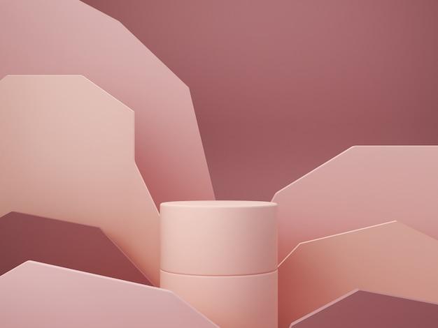 Minimalna Scena Z Podium I Abstrakta Tłem. Figury Geometryczne. Scena W Pastelowych Kolorach. Minimalne Renderowanie 3d. Scena Z Geometrycznymi Formami I Teksturowanym Tłem Dla Produktu Kosmetycznego. Renderowania 3d. Premium Zdjęcia