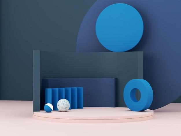 Minimalna Scena Z Podium I Abstrakta Tłem. Kształt Geometryczny. Klasyczna Niebieska Zimowa Scena Kolorów. Minimalne Renderowanie 3d. Scena Z Geometrycznymi Formami I Teksturowanym Tłem. Renderowania 3d. Premium Zdjęcia