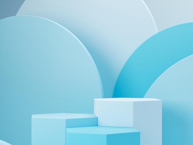 Minimalna Scena Z Podium I Abstrakta Tłem. Kształt Geometryczny. Scena Niebieskie Pastelowe Kolory. Minimalne Renderowanie 3d. Scena Z Geometrycznymi Formami I Niebieskim Tłem. Renderowania 3d. Premium Zdjęcia