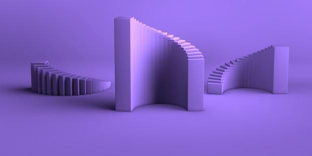 Minimalne Abstrakcyjne Tło Renderowania 3d Grupa Abstrakcyjnych Kształtów Geometrycznych Zestaw Fioletowo-fioletowy Premium Zdjęcia