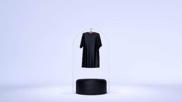Minimalne Tło, Makieta Sceny Z Podium Do Wyświetlania Produktów. I Zwykły Biały T-shirt Premium Zdjęcia