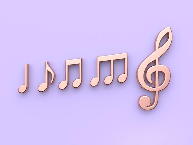 Minimalnym Fioletowo-fioletowym Tle Metalicznej Miedzi Muzyka Notatka Renderowania 3d Premium Zdjęcia