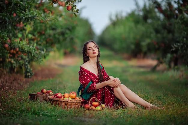 Młoda Atrakcyjna Kobieta W Czerwonej Fartuchu W Zielonej Sukience Zbiera Dojrzałe Jabłka W Wiklinowych Koszach W Sadzie Jabłkowym. Premium Zdjęcia