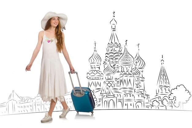 Młoda dziewczyna w koncepcji turystyki do rosji Premium Zdjęcia