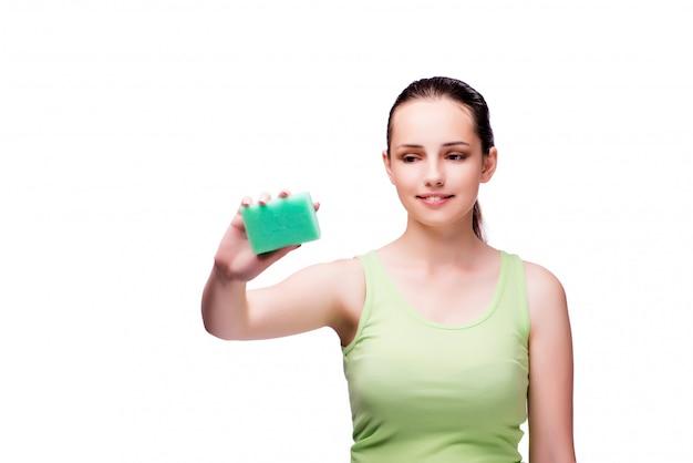 Młoda gospodyni domowa w cleaning pojęciu Premium Zdjęcia